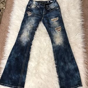 Miss Me Girls Bleached Patched Boot Cut Jeans
